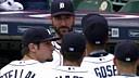 Indians at Tigers:Tigers 外野手 Anthony Gose 在中外野的飞扑好守接住了 Michael B