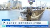 黑龙江黑河:降雨致路面结冰 公交停运