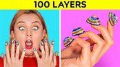 闺蜜搞笑恶作剧,5个搞怪100层挑战,涂100层指甲油漂亮吧